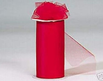 """6 inch x 300 foot """"Made in the USA"""" Nylon Tulle Roll -- RED-**On Sale Now **"""