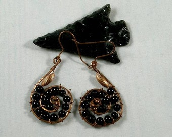 Dragonglass Obsidian - Copper Head Snake Spiral Earrings - 1st Chakra