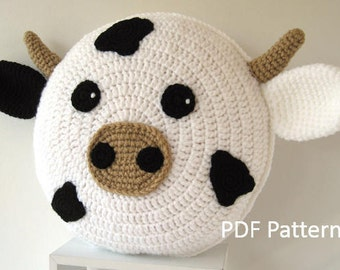 Cow Pillow - Cushion CROCHET PATTERN - crochet patterns for animal pillows - Birthday present - Baby shower gift