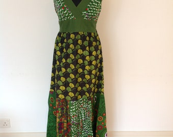 Green patterned dress, long summer dress, hippie dress, vacation wear, cotton beach dress.