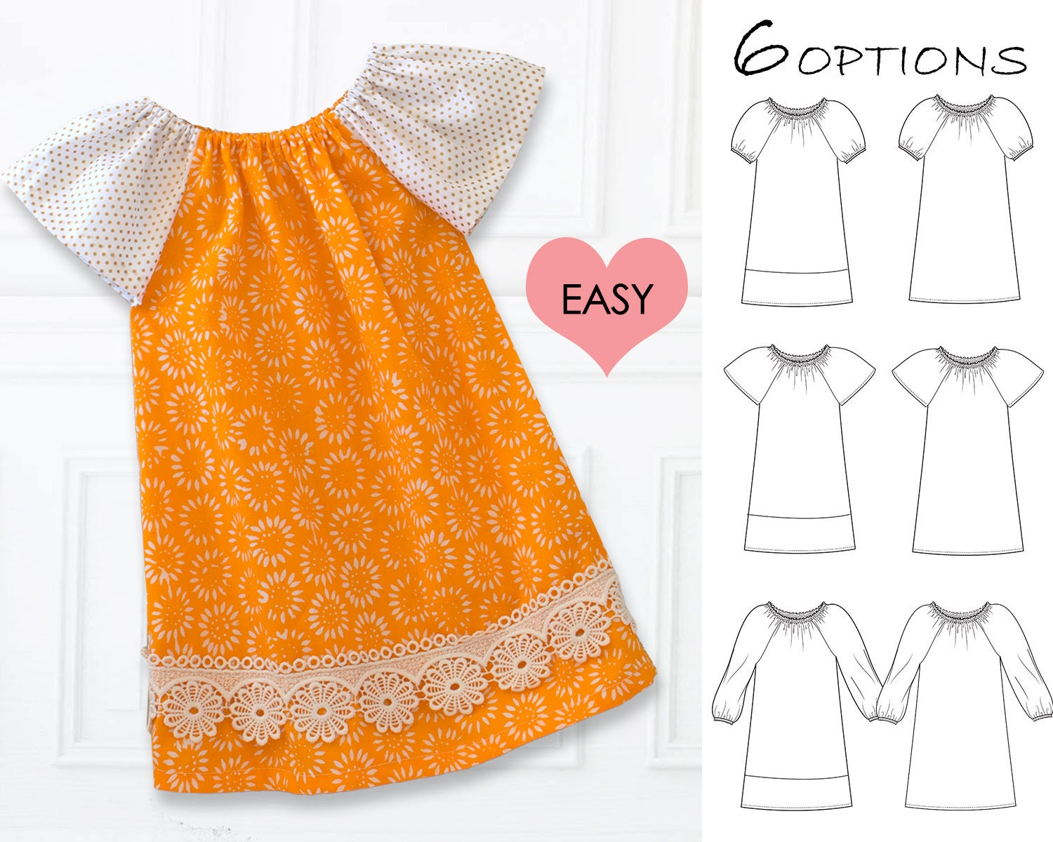 EASY baby dress pattern pdf baby sewing pattern baby peasant