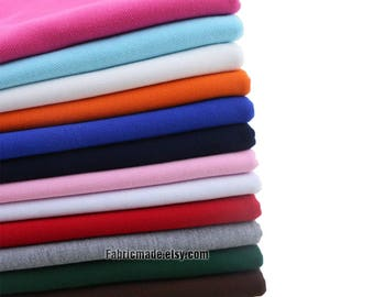 """13 Colors Solid Knit Cotton Fabric, Polo T-Shirts Jersey Knitting Cotton Fabric Solid Pink Grey Blue Green- 1/2 Yard 18""""x73"""""""