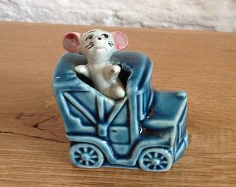 Vintage Ceramic Mouse Coming Out of a Train Possibly Beckwood but just says Japan on the bottom. Very unusual 1930's Ornament.