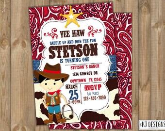 Cowboy Birthday Invitation/Western Birthday Invitation/Party Printables/Boys Birthday/Little Cowboy Party