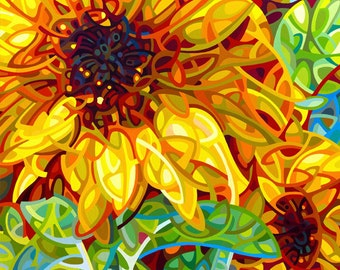 sunflower print, bright yellow sunflower art print, Large Signed Fine Art Giclee Print from my Original Painting - Summer in the Garden -