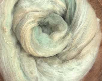 "Hand carded batt ""BUTTERMINT"" with lots of silk - spinning felting weaving - made to order"