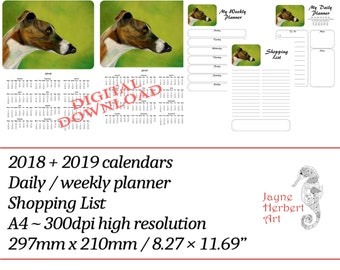 """Printable Greyhound calendar 2018 / 2019 and planners - """"Brindle and white greyhound"""""""