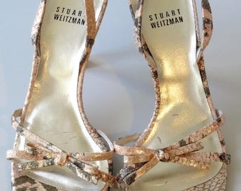 Stuart Weitzman Open Toe Bow Sandals Gold Snake Fabric