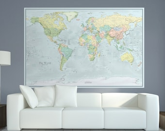 "Extra Large Modern World Map - 44""x66"" 