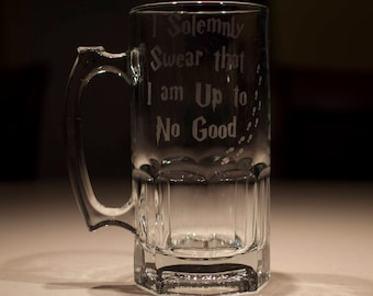 "Harry Potter Marauders Map ""I Solemnly Swear..."" Etched Huge 32oz Beer Stein"