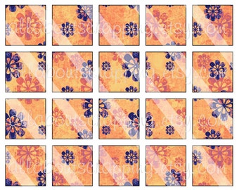 """1"""" Squares Digital Collage Sheet - Printable Orange Grunge Squares For Tags Pendants Magnets Jewelry Cardmaking Stickers 0048"""