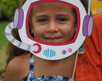 Space Rocket party pdf printable outer space photo booth props - astronaut helmet, spaceship, alien eyes with pink girl astronaut
