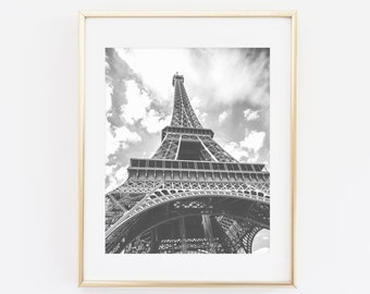Eiffel tower printable wall art, Eiffel Tower Print, Paris photography print, Black and white, Eiffel tower Print, Paris decor, French Decor