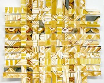 Yellow Paper Weaving- 9x9- Original Abstract Watercolor- Gold, Ochre, White, Grey- Handwoven Art