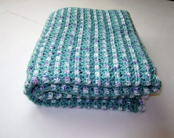 SHIPS FREE* Seafoam Green Crochet Baby Blanket, Sea Green Crochet Baby Afghan, Baby Shower Gift, Gift for Baby Girl, Green Baby Throw