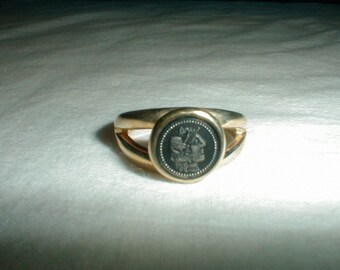 vintage elizabeth kissick ring ek designs ring two tone ring roman emporer ring ring sz.9 ring vintage ekdesigns