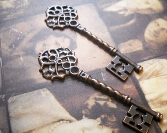 "Bulk Skeleton Keys-Copper Keys-Skeleton Key Pendants-Wedding Keys-Wholesale Keys Skeleton Keys Copper Key Pendants-100pcs 2.67"" PREORDER"