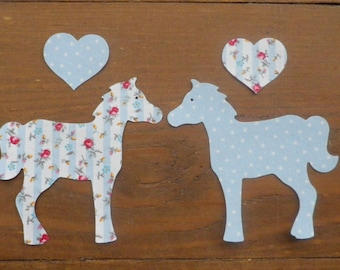 Iron On fabric HORSES, PONIES x 2 with Hearts Floral/Dotty