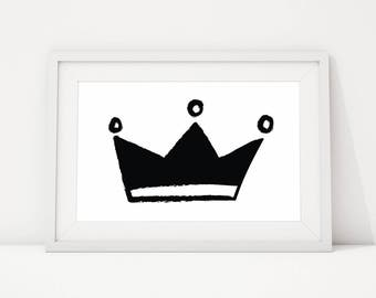 Printable black and white nursery print, Black crown print, black grey white nursery, monochrome boy nursery, INSTANT DOWNLOAD