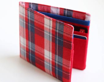 Mens wallet, Wallet, Billfold, Vintage Upcycled Fabrics, Red plaid, Handmade by Knotted Nest on Etsy