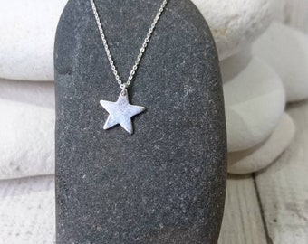 Star necklace, silver star necklace, Tiny star necklace, hammered silver star, 16-18 inch silver chain, Bywater Handmade Gifts