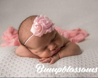 Newborn headband, Flower girl headband, Pink headband for photo shoot, wedding headband for photo shoot, baby shower gift, baby headband