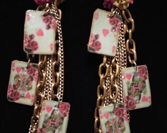 Victorian rose card earrings