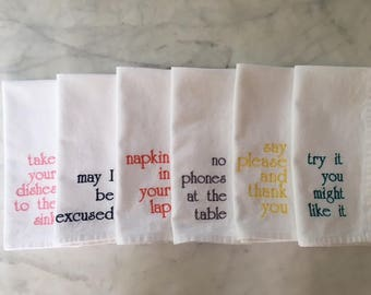 Manners Napkins, Embroidered, Cotton Napkins