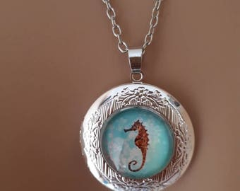 Seahorse locket charm silver coloured