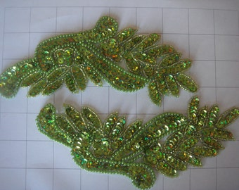 "7.5"" by 3.25"" Lime Green Pair of Beaded and Sequins Applique"