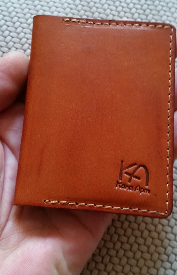 Brown leather card wallet Leather credit card Case Leather
