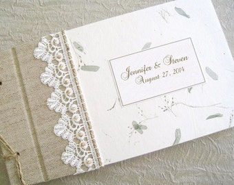 Personalized Rustic Wedding Guest Book Wildflowers and Beaded Lace