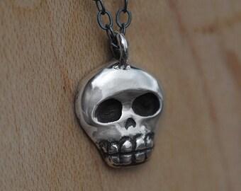 Silver Skull Charm - Skull Pendant - Silver Skull Necklace - Skull Jewelry