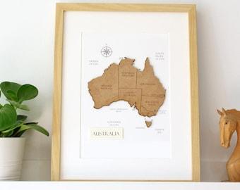 Custom Australia Map, Map of Australia, Wood Cut Map, Laser Cut Wood Map, Custom Map Art, Australia Map Wall Art, Australia, 8x10 or A4