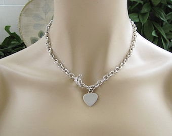 silver heart a necklace medium r on toggle tag sterling