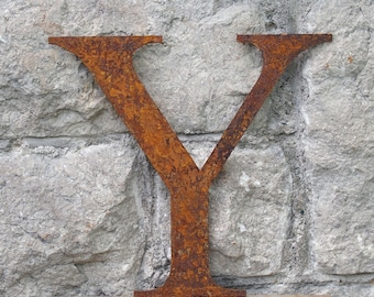 Flat Metal Rusty Letter Y / Metal / Letter / Garden / Industrial / Vintage / Rustic / Floral / Gift / Wedding / Home / 25cm