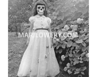 Creepy Halloween Wall Art Print, Black and White Skeleton Girl with Skull Face Macabre Halloween Decor, 7x7 on 8.5 x 11 Inch Paper, frighten