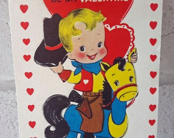 1957 Used Valentine's Greetings Card Boy Riding On A Horse  (B15)