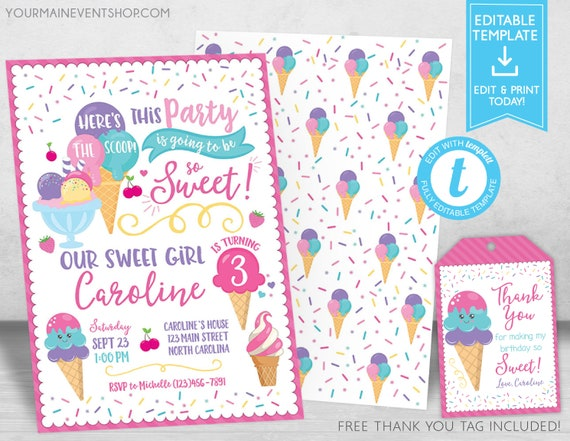Ice Cream Party Invitation, Ice Cream Birthday Invitation, Ice Cream Social Invitation, Ice Cream Thank You Tags Instant Download Templett