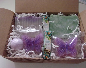Gift Box Of Natural Handmade Soap, Lip Balm and Bath Bomb