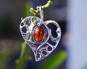 Stunning Cognac Baltic Amber Heart set in 925 Sterling Silver Pendant