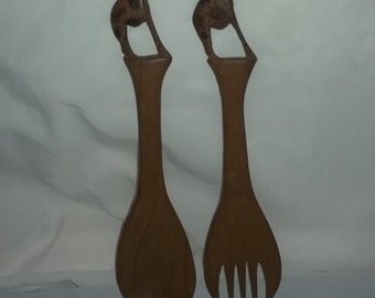 Giraffe Carved vintage Wood Spoon and Fork