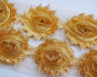 Gold glitter flower etsy shimmer yellow gold shabby trim shabby rose trim light gold shabby chiffon flowers flowers by the yard diy flowers for headband mightylinksfo