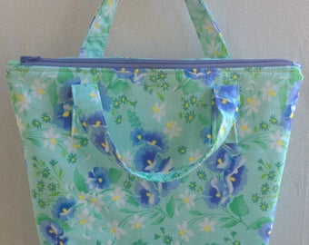 Lunch Bag/Lunch Tote/Insulated Fabric Cooler - Mint Green & Purple Floral