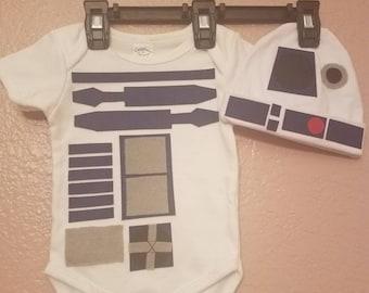 R2D2 Star Wars inspired Baby Onesie & Hat