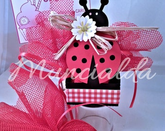 1 set of 10 handmade candy favor boxes LADYBUG, ideal for Graduation, or any other important event