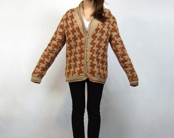 Unisex Crochet Cardigan 80s Beige Houndstooth Oversized Sweater - Large L