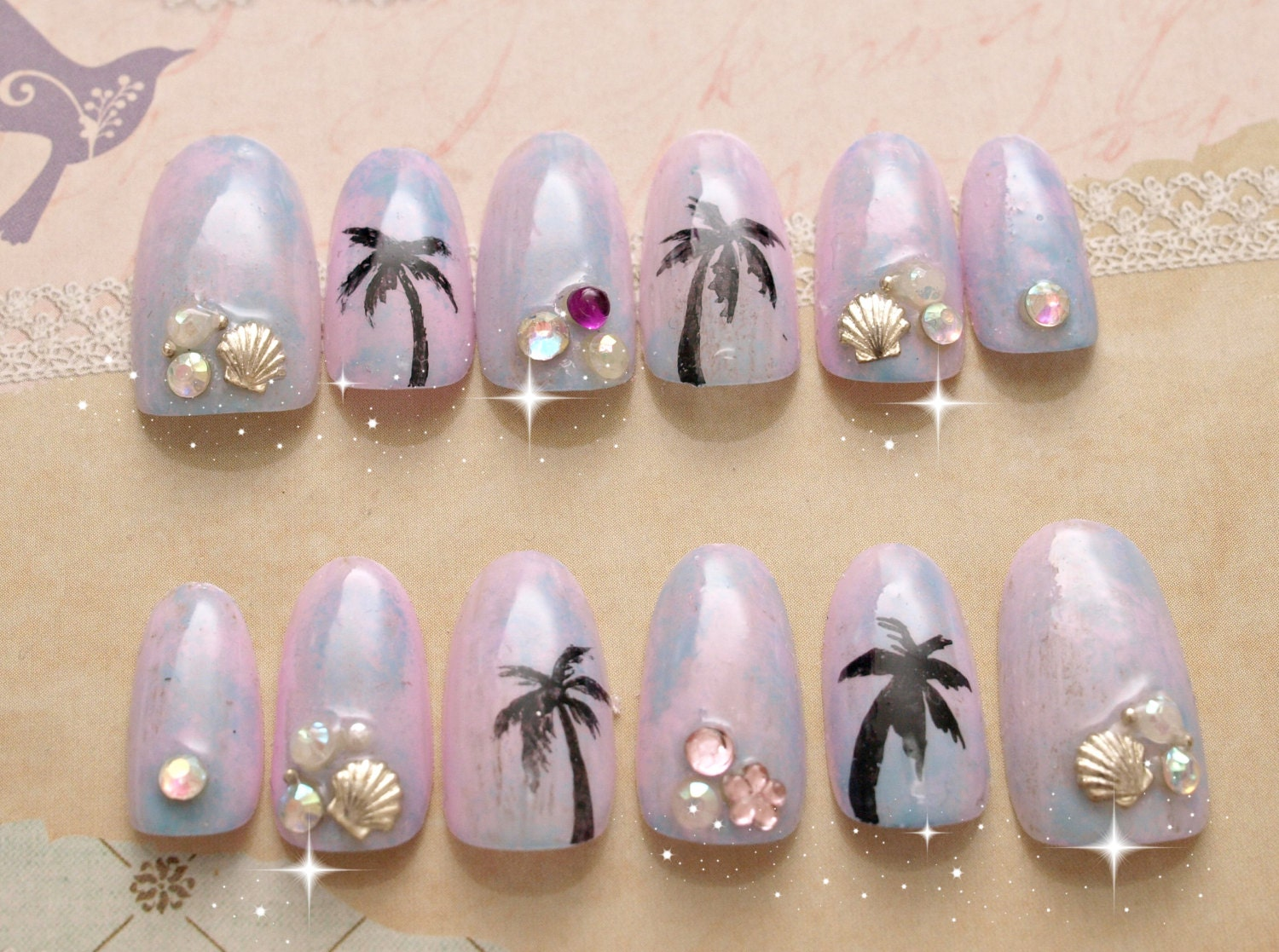 Pastel nails, 3D nails, ombre, tie dye, beach, tropical, ombre nail ...