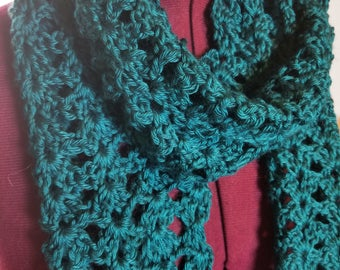 Vibrant Teal Lacy Scarf