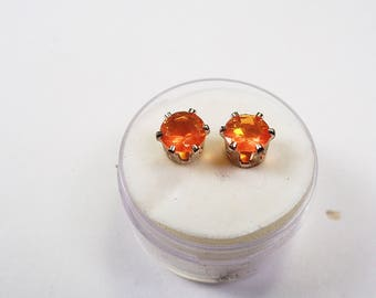 Fire Opal Earrings in Silver. 6mm. Round 50pts. each. Natural Gemstones.
